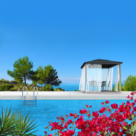 3D rendering showing a swimming pool with pavilion and fantastic view to the sea photo