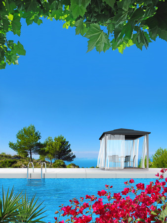 fictitious: FICTITIOUS swimming pool, pavilion and bougainvillea