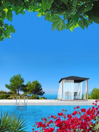 bougainvillea: FICTITIOUS swimming pool, pavilion and bougainvillea