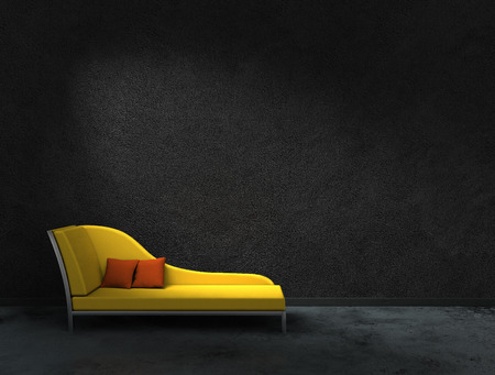 red sofa: FICTITIOUS 3D rendering of a yellow wall with black recamier to present your images