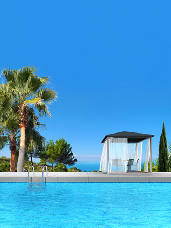 fictitious: FICTITIOUS 3D rendering showing a swimming pool with pavilion and fantsatic view to the sea