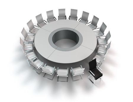 misfit: conceptual 3D rendering showing a meeting table with opposition