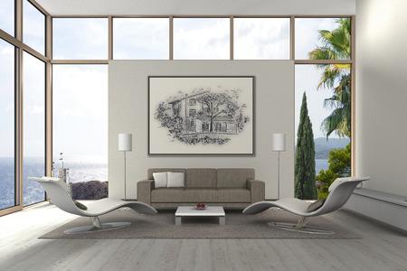 내 자신의 드로잉과 함께 현대 거실의 가상의 3D 렌더링