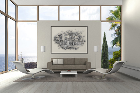 paisaje mediterraneo: FICTICIO Representación 3D de una moderna sala de estar con mi propio dibujo Foto de archivo