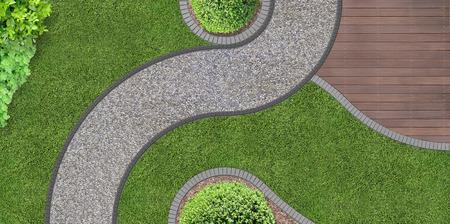 voetpad door de tuin in luchtfoto