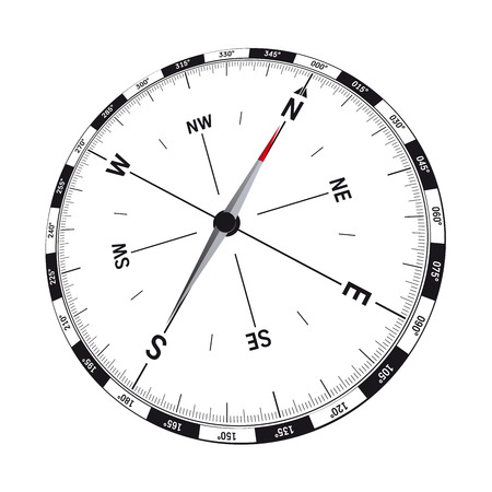 opening hours: modern compass vector illustration with precise graphic