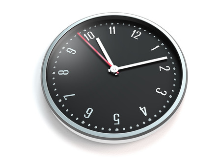 opening hours: clock or watch with modern dial on white background