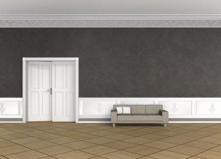 trim wall: FICTITIOUS 3D rendering of an interior of an old building