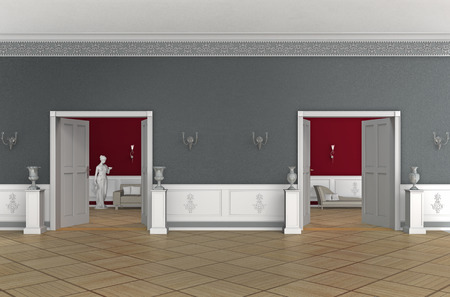 aristocrático: FICTICIO representaci�n 3D de al interior aristocr�tica de un antiguo edificio