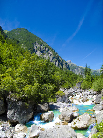 nger: clear and clean mountain creek in the european alps Stock Photo