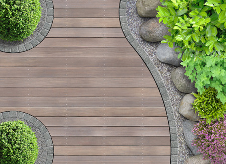 deck: aesthetic garden designer detail with rocks in aerial view