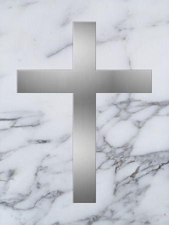 inlay: silver cross inlay in white marble plate Stock Photo