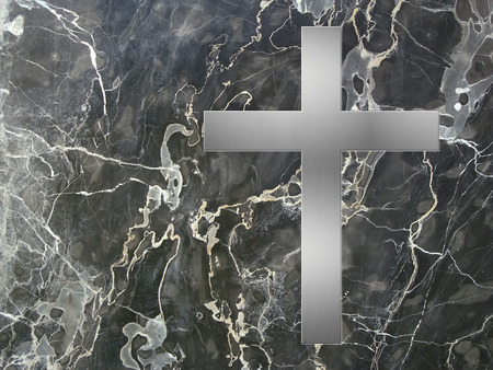condolence: silver cross inlay in marble plate with copyspace