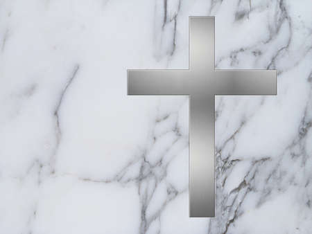 inlay: silver cross inlay in white marble plate with copyspace