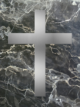 inlay: silver cross inlay in marble plate Stock Photo