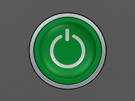 green power: modern green power button on gray background