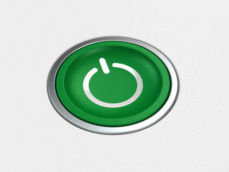 green power: modern green power button on white background Stock Photo
