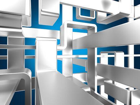 threedimensional endless metal labyrinth with luminous background