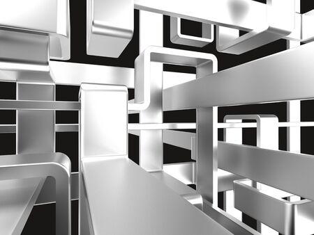driedimensionale eindeloze metalen labyrint met zwarte achtergrond