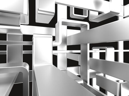 abstruse: threedimensional endless metal maze with black background