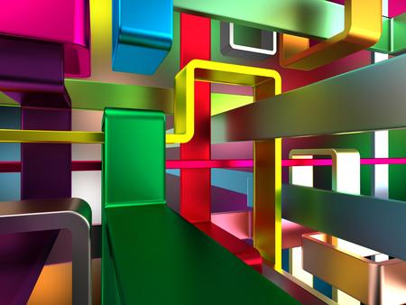 abstracte eindeloze kleurrijke metalen labyrint Stockfoto