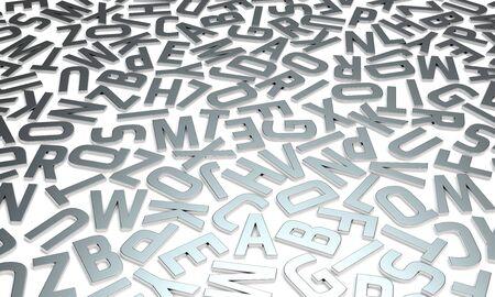 Zilveren glanzende letters op witte achtergrond afbeelding typografie reliëf op