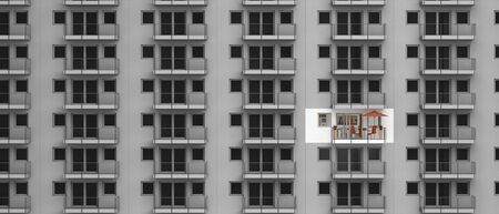 refurbishment: fictitious 3D rendering Concerning building refurbishment, individuality and urban living