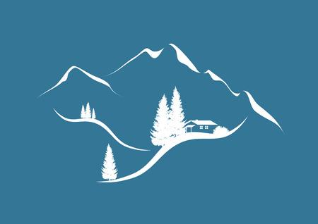 abetos: ilustración de un paisaje alpino de montaña en invierno con chalet y abetos