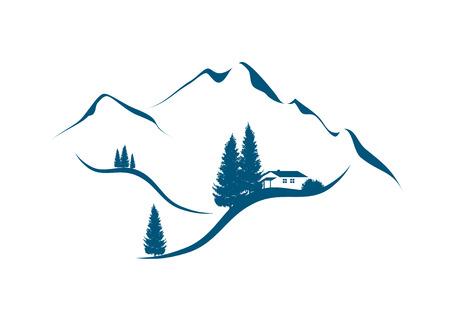 abetos: ilustración de un paisaje de montaña alpina con chalet y abetos