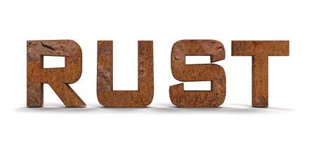 dilapidated: Rusty letters isolated on white background Stock Photo