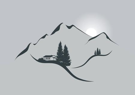 Darstellung eines alpinen Berglandschaft mit Holzhütte, Tannen und Sonne Illustration