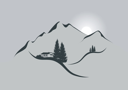 illustration of an alpine mountain landscape with chalet, firs and sun Ilustração
