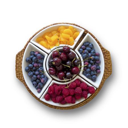 white isolated: decorative fruit bowl on white background