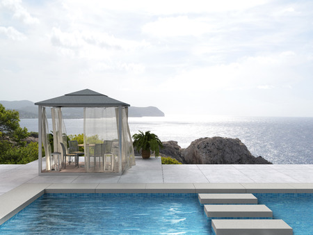 sea view: FICTITIOUS pavilion by the pool with a view to the sea 3D rendering Stock Photo