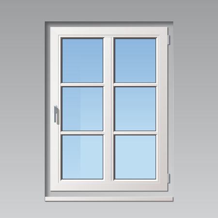 aluminum: modern detailled white vector window illustration with glass bars Illustration