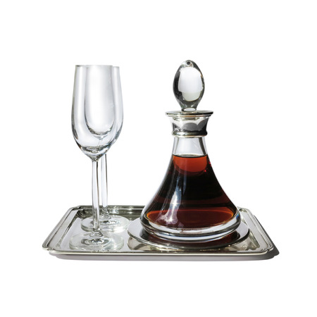 aperitive: aperitif with silver tray, glasses and carafe isolated on white background