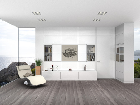 fictitious: FICTITIOUS 3D rendering of a modern seaside living room