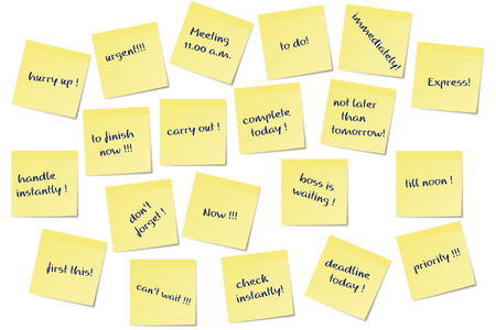 yellow sticky note: different urgent paper memo notes image