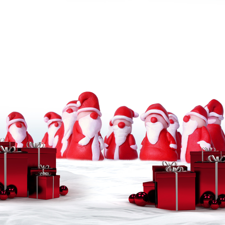 clauses: a group of santa clauses and christmas gifts