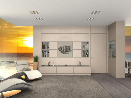 fictitious: FICTITIOUS 3D rendering of a modern living room interior with a view to the sea and sunset Stock Photo