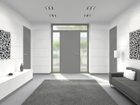 transom: FICTITIOUS 3D rendering of a modern lobby interior with front door