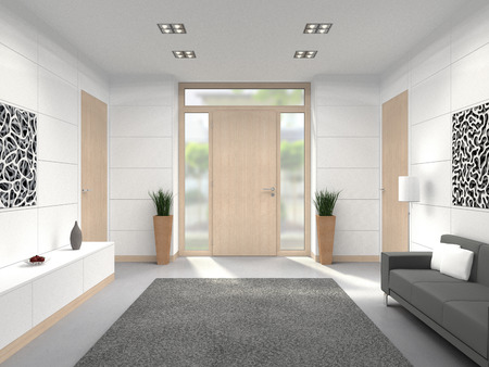 FICTITIOUS 3D rendering of a modern lobby interior with wooden front door