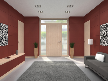 maroon: FICTITIOUS 3D rendering of a modern maroon lobby interior with wooden front door Stock Photo