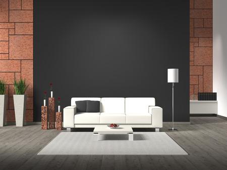 corten: FICTITIOUS modern interior with sofa, corten steel and copyspace