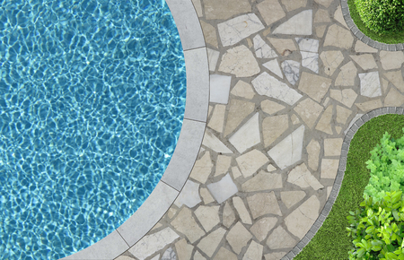 swimming pool and garden detail in top view 스톡 콘텐츠