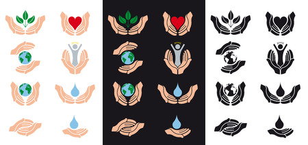 cordial: helping, protecting and charity hands icons
