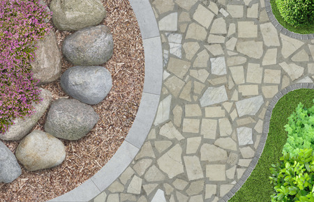 erratic: modern garden architecture in top view Stock Photo