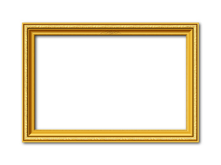 golden frame: golden ornamental vintage style frame isolated on white background