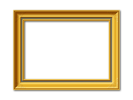 golden ornamental vintage style frame isolated on white background