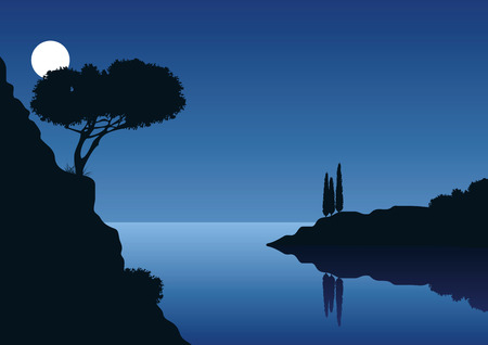cypress: mediterranean coast landscape with full moon and the sea Illustration